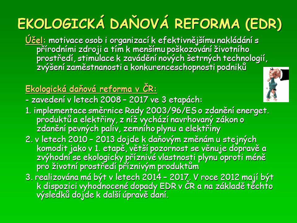 EKOLOGICKÁ DAŇOVÁ REFORMA (EDR) Účel: motivace osob i organizací k efektivnějšímu nakládání s přírodními zdroji a tím k menšímu poškozování životního