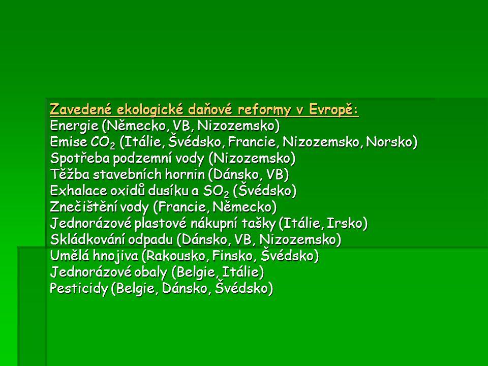 Zavedené ekologické daňové reformy v Evropě: Energie (Německo, VB, Nizozemsko) Emise CO 2 (Itálie, Švédsko, Francie, Nizozemsko, Norsko) Spotřeba podz