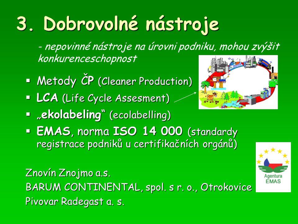 " Metody ČP (Cleaner Production)  LCA (Life Cycle Assesment)  ""ekolabeling"" (ecolabelling)  EMAS, norma ISO 14 000 (standardy registrace podniků u"