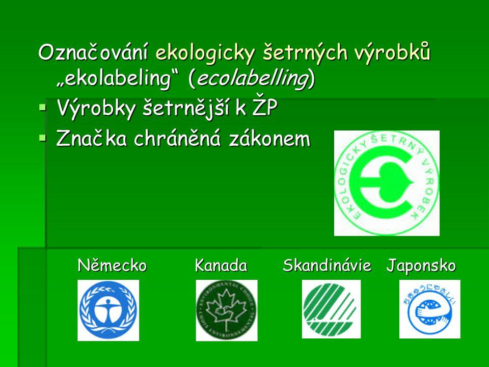 """Označování ekologicky šetrných výrobků """"ekolabeling"""" (ecolabelling)  Výrobky šetrnější k ŽP  Značka chráněná zákonem Německo KanadaSkandinávie Japon"""