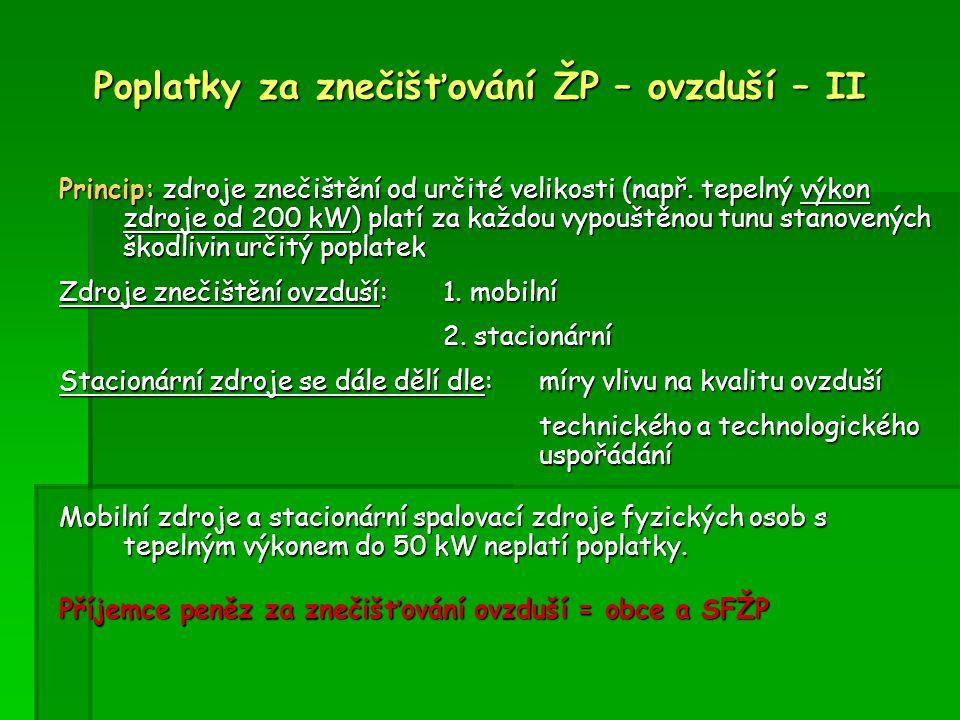 Poplatky za znečišťování ŽP – ovzduší - III znečišťující látka sazba (Kč/t) tuhé znečišťující látky 3 000 SO 2 1 000 NO x 800 těkavé organické látky 2 000 CO600 těžké kovy a jejich sloučeniny 20 000 polycyklické aromatické uhlovodíky 20 000 znečišťující látky třídy I.