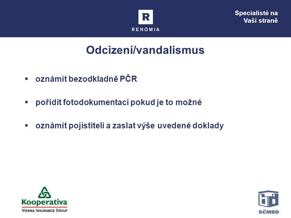 Specialisté na Vaší straně Odcizení/vandalismus  oznámit bezodkladně PČR  pořídit fotodokumentaci pokud je to možné  oznámit pojistiteli a zaslat v