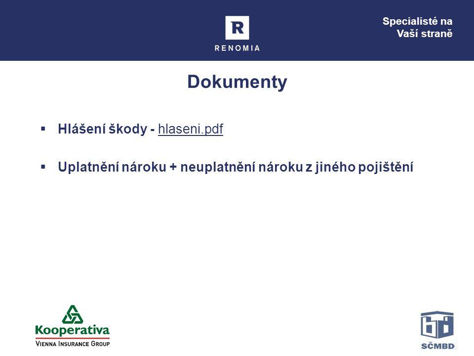 Specialisté na Vaší straně Dokumenty  Hlášení škody - hlaseni.pdfhlaseni.pdf  Uplatnění nároku + neuplatnění nároku z jiného pojištění