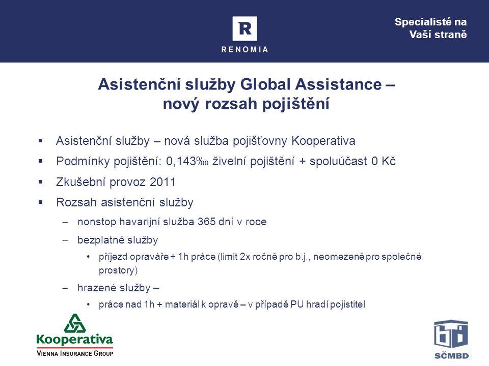 Specialisté na Vaší straně Asistenční služby Global Assistance – nový rozsah pojištění  Asistenční služby – nová služba pojišťovny Kooperativa  Podm