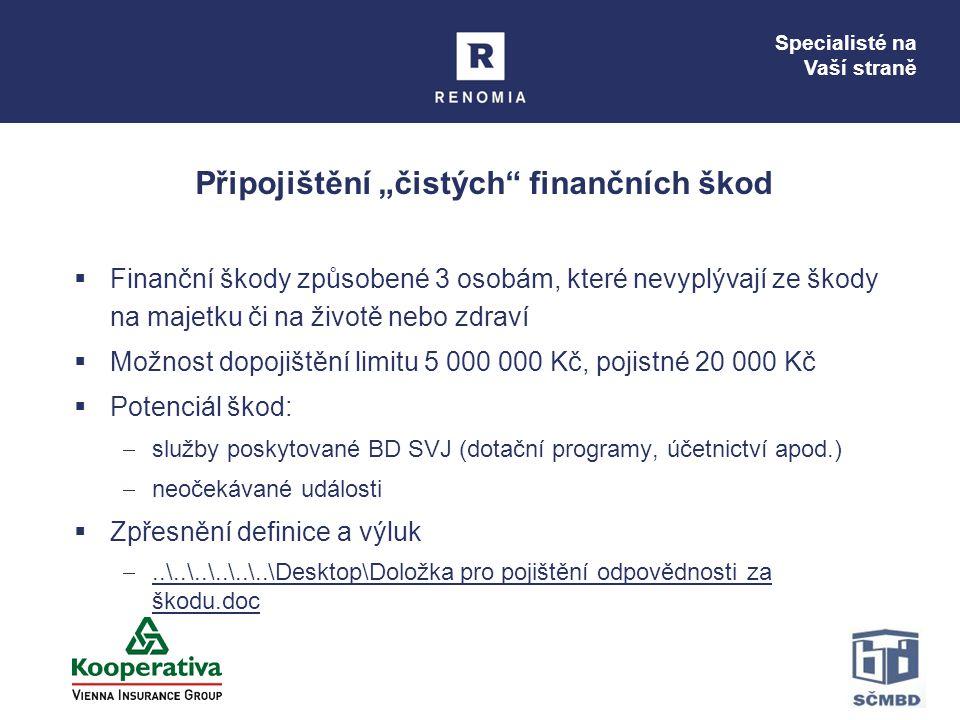 """Specialisté na Vaší straně Připojištění """"čistých"""" finančních škod  Finanční škody způsobené 3 osobám, které nevyplývají ze škody na majetku či na živ"""