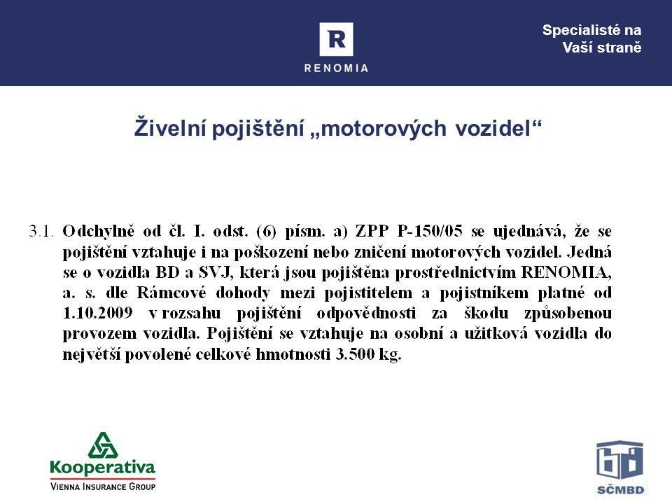 """Specialisté na Vaší straně Živelní pojištění """"motorových vozidel"""