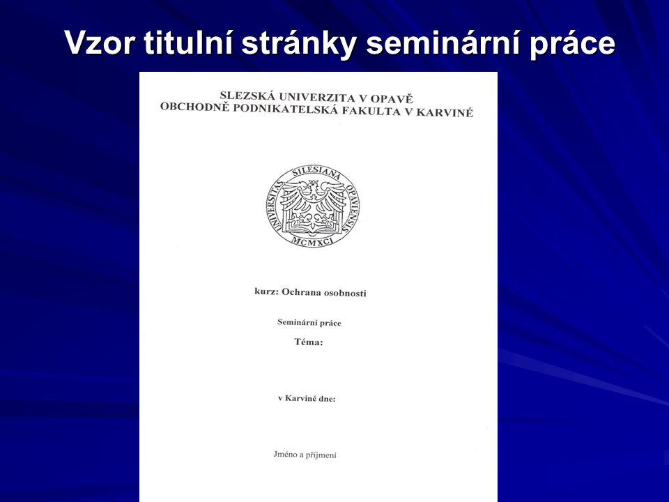 Vzor titulní stránky seminární práce