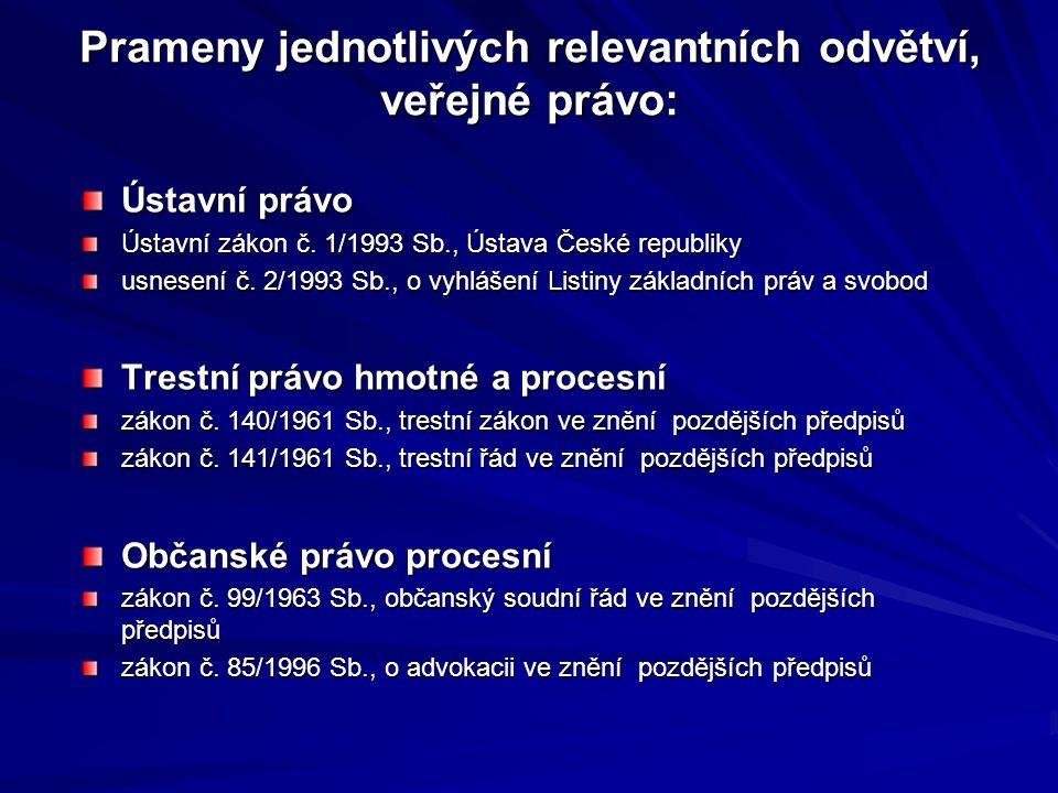 Prameny jednotlivých relevantních odvětví, veřejné právo: Ústavní právo Ústavní zákon č. 1/1993 Sb., Ústava České republiky usnesení č. 2/1993 Sb., o