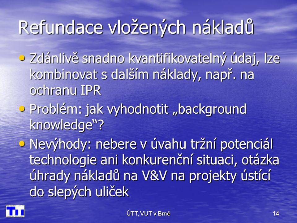 ÚTT, VUT v Brně14 Refundace vložených nákladů • Zdánlivě snadno kvantifikovatelný údaj, lze kombinovat s dalším náklady, např.