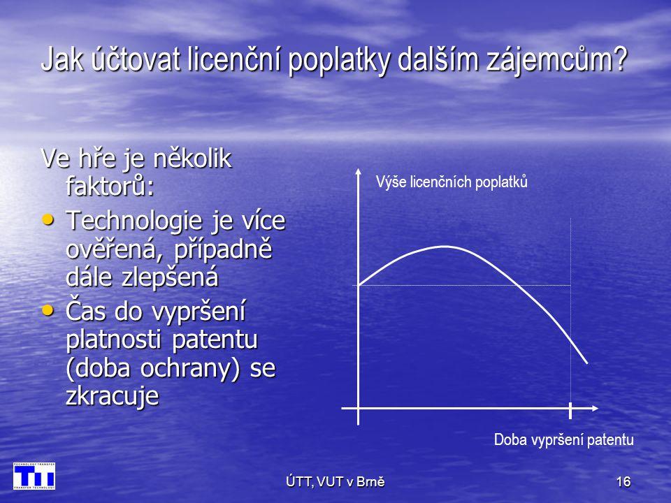 ÚTT, VUT v Brně16 Jak účtovat licenční poplatky dalším zájemcům.