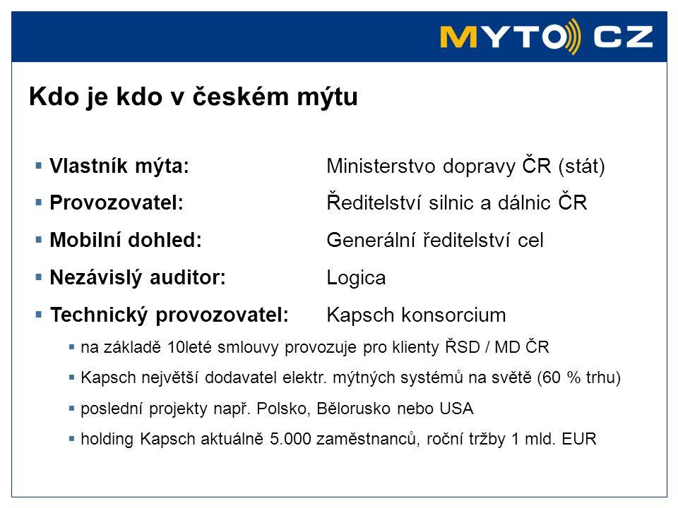 Vlastník mýta:Ministerstvo dopravy ČR (stát)  Provozovatel:Ředitelství silnic a dálnic ČR  Mobilní dohled:Generální ředitelství cel  Nezávislý au