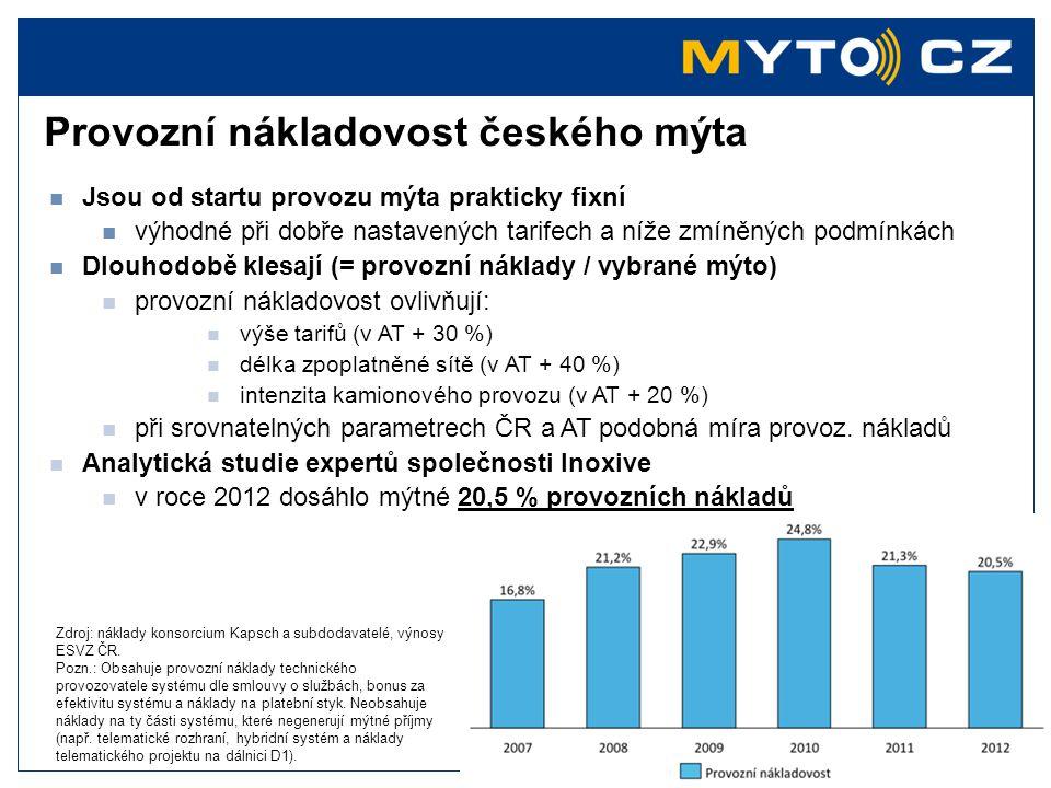 Provozní nákladovost českého mýta  Jsou od startu provozu mýta prakticky fixní  výhodné při dobře nastavených tarifech a níže zmíněných podmínkách 