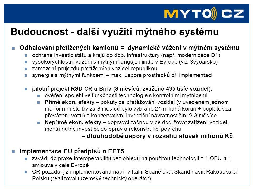 Budoucnost - další využití mýtného systému  Odhalování přetížených kamionů = dynamické vážení v mýtném systému  ochrana investic státu a krajů do do