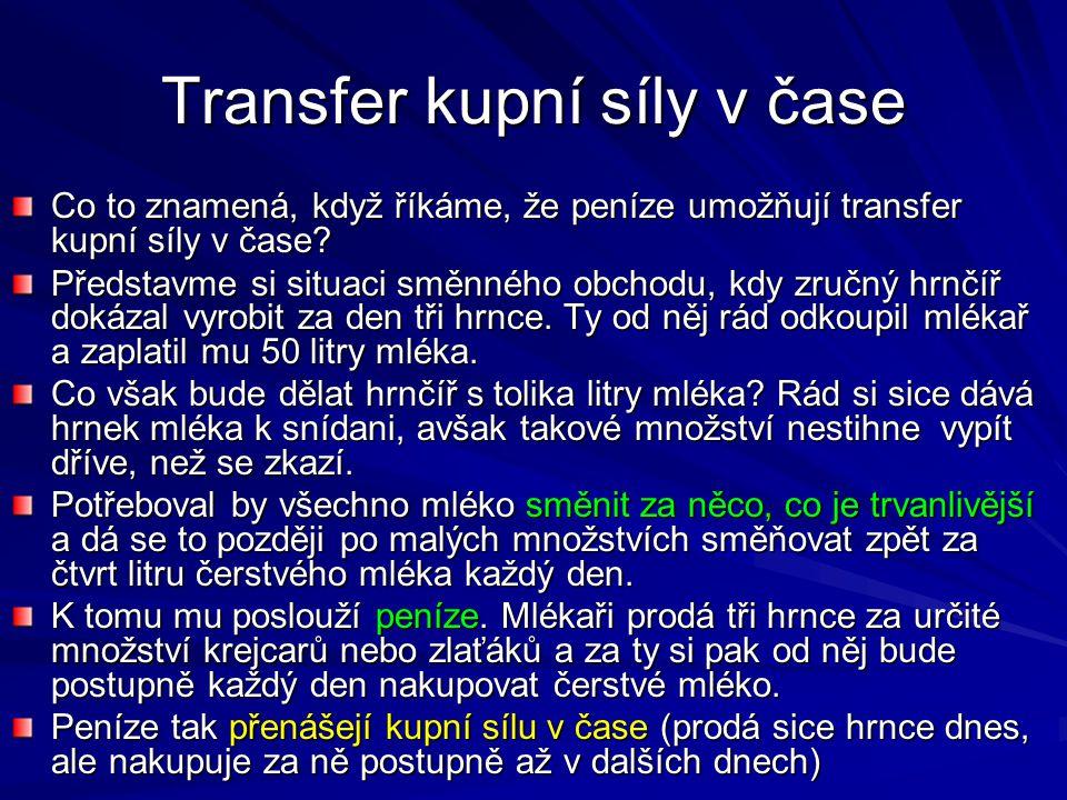 Transfer kupní síly v čase Co to znamená, když říkáme, že peníze umožňují transfer kupní síly v čase.