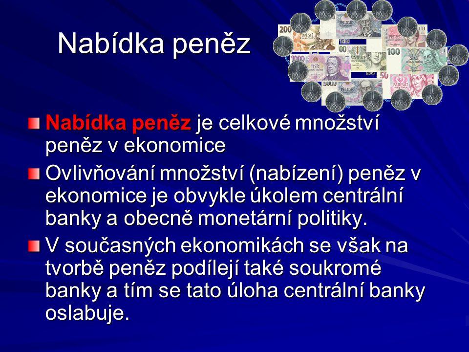 Nabídka peněz Nabídka peněz je celkové množství peněz v ekonomice Ovlivňování množství (nabízení) peněz v ekonomice je obvykle úkolem centrální banky a obecně monetární politiky.