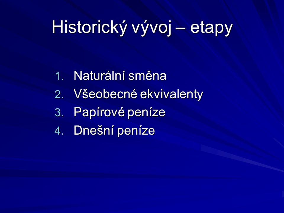 Historický vývoj – etapy 1.Naturální směna 2. Všeobecné ekvivalenty 3.