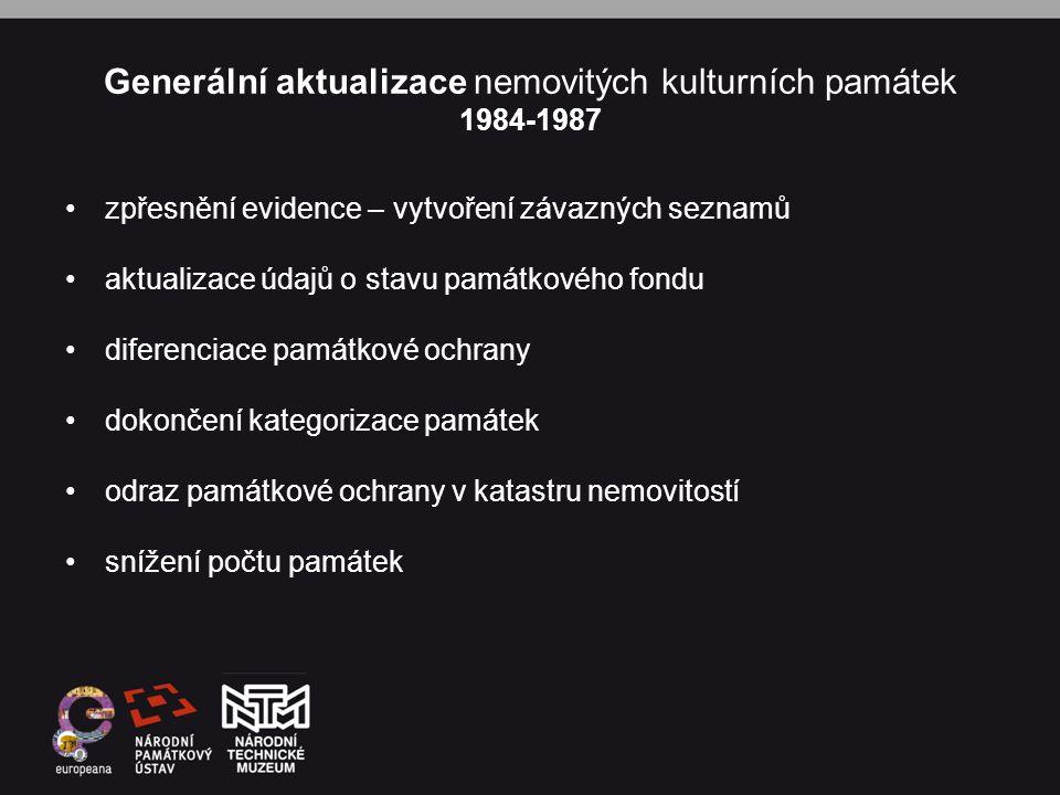 Generální aktualizace nemovitých kulturních památek 1984-1987 •zpřesnění evidence – vytvoření závazných seznamů •aktualizace údajů o stavu památkového