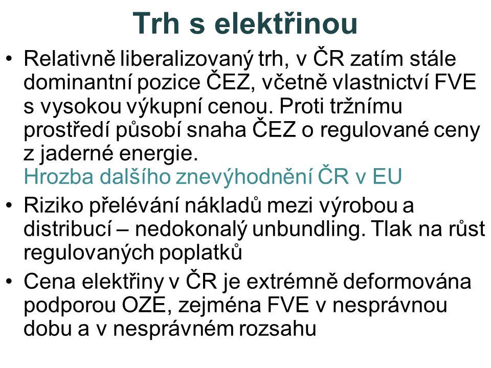 Trh s elektřinou •Relativně liberalizovaný trh, v ČR zatím stále dominantní pozice ČEZ, včetně vlastnictví FVE s vysokou výkupní cenou.