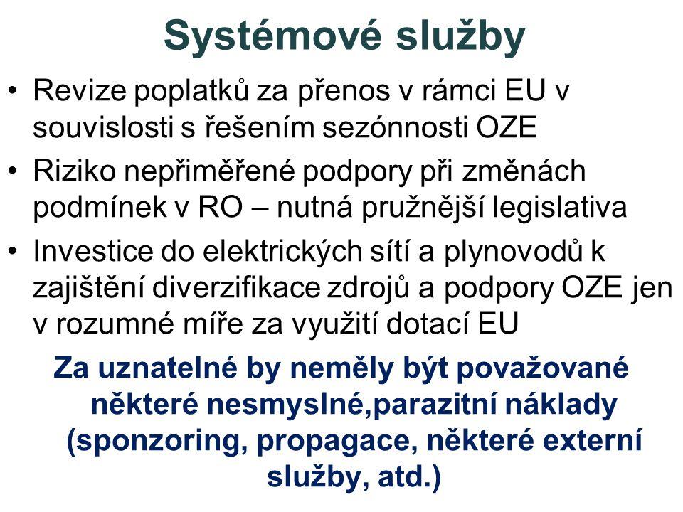 Systémové služby •Revize poplatků za přenos v rámci EU v souvislosti s řešením sezónnosti OZE •Riziko nepřiměřené podpory při změnách podmínek v RO – nutná pružnější legislativa •Investice do elektrických sítí a plynovodů k zajištění diverzifikace zdrojů a podpory OZE jen v rozumné míře za využití dotací EU Za uznatelné by neměly být považované některé nesmyslné,parazitní náklady (sponzoring, propagace, některé externí služby, atd.)