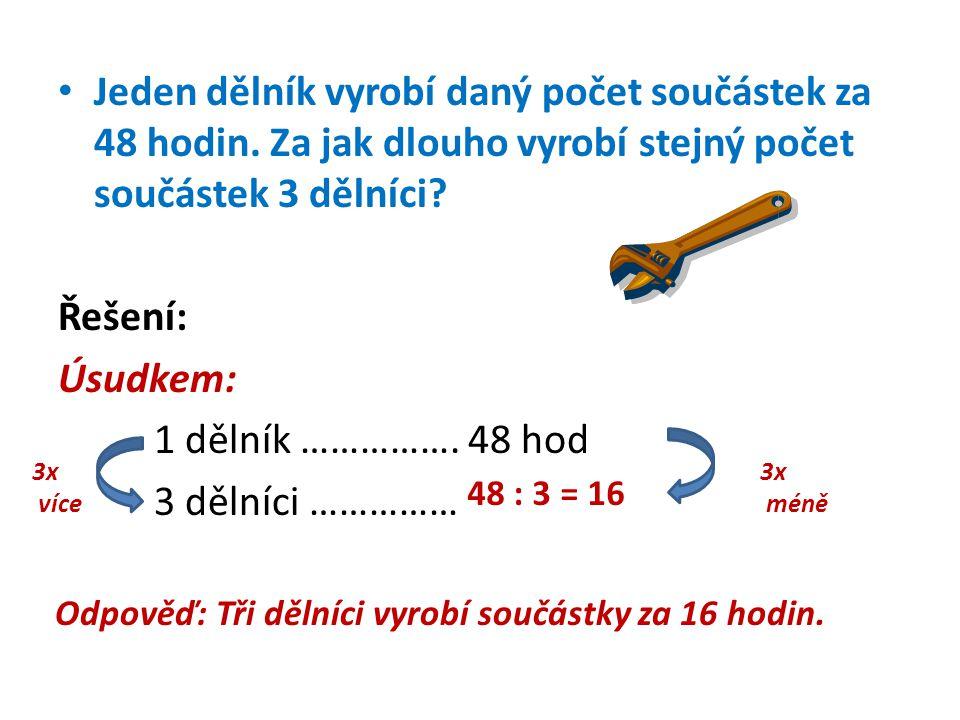 Řešení slovních úloh na nepřímou úměrnost trojčlenkou: 1 dělník ………….