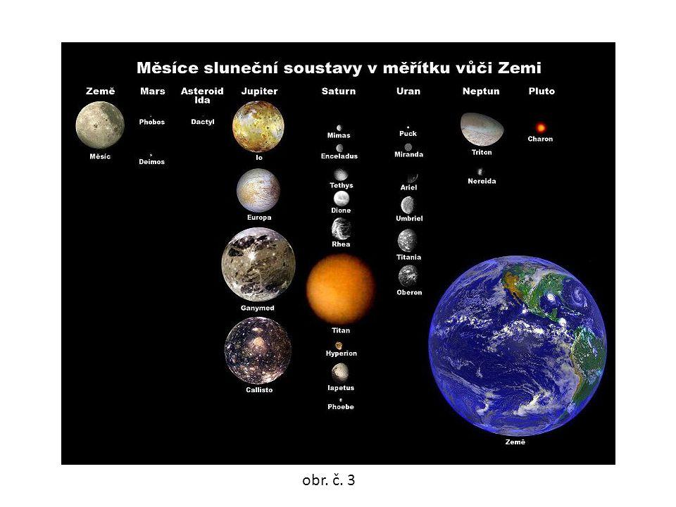 •průměr Měsíce je 3476 km (asi 4x menší než Země) •od Země vzdálen asi 384 403 km obr. č. 4