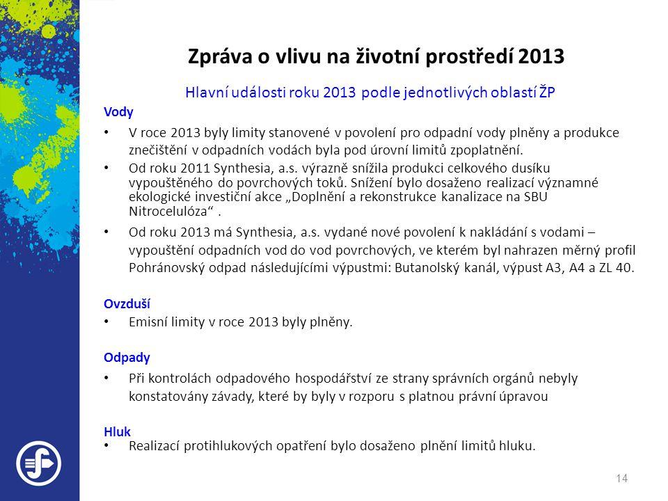 Zpráva o vlivu na životní prostředí 2013 Hlavní události roku 2013 podle jednotlivých oblastí ŽP Vody • V roce 2013 byly limity stanovené v povolení p