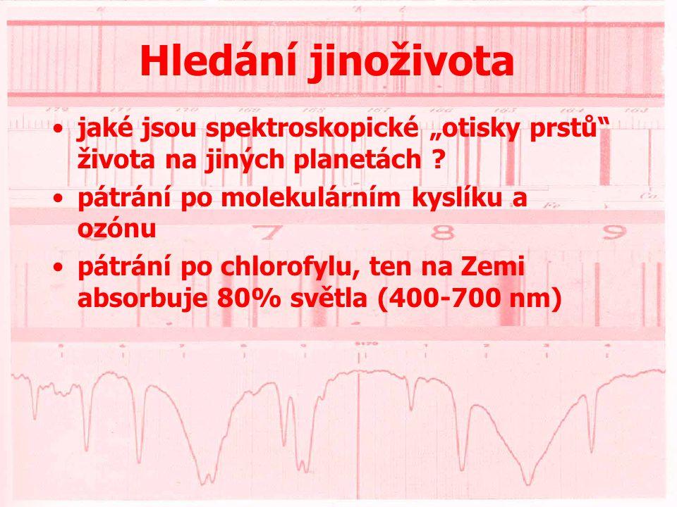 Hledání jinoživota •obyvatelné zóny - rozmezí hmotnosti takové planety 0,1 - 10 M Z a T=300 K •pak vzdálenost od centrální hvězdy musí být a=0,7.R H.(T H /300) 2 a v závislosti na sp.