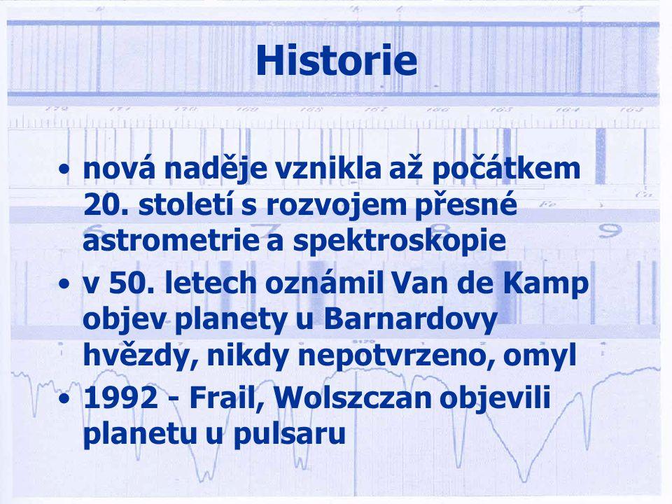 Historie •filozofické úvahy Démokrites, Epikúros •inspirace spekulativních úvah Giordana Bruna, Goetha, Kanta... •první doložený pokus spatřit planetu