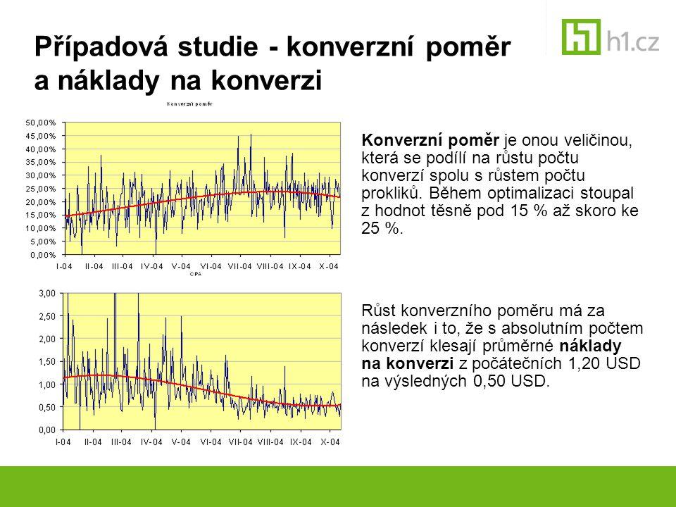 Případová studie - konverzní poměr a náklady na konverzi Konverzní poměr je onou veličinou, která se podílí na růstu počtu konverzí spolu s růstem poč