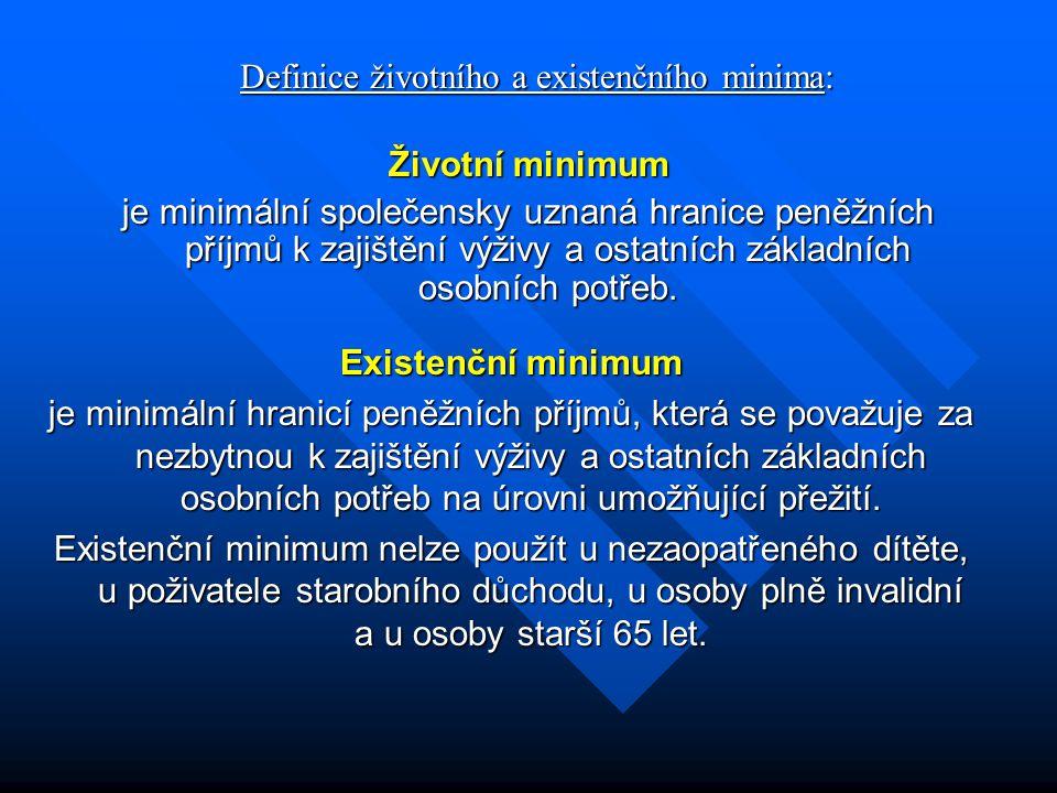 Definice životního a existenčního minima: Životní minimum je minimální společensky uznaná hranice peněžních příjmů k zajištění výživy a ostatních zákl