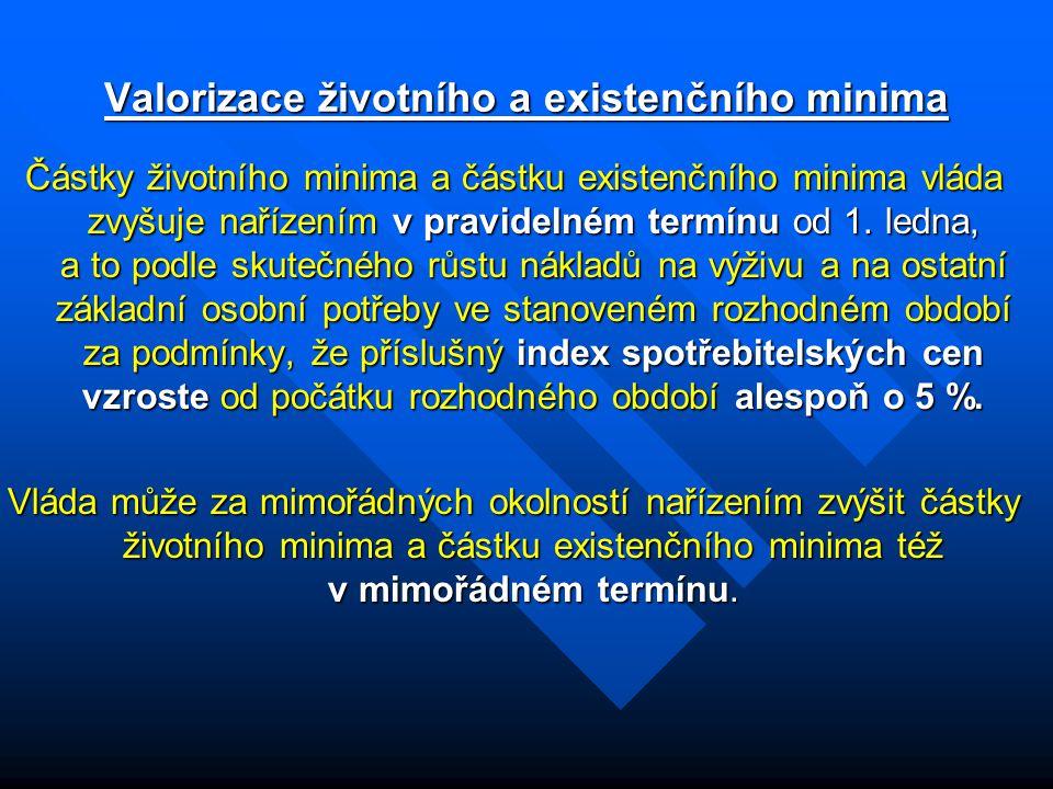 Valorizace životního a existenčního minima Částky životního minima a částku existenčního minima vláda zvyšuje nařízením v pravidelném termínu od 1. le