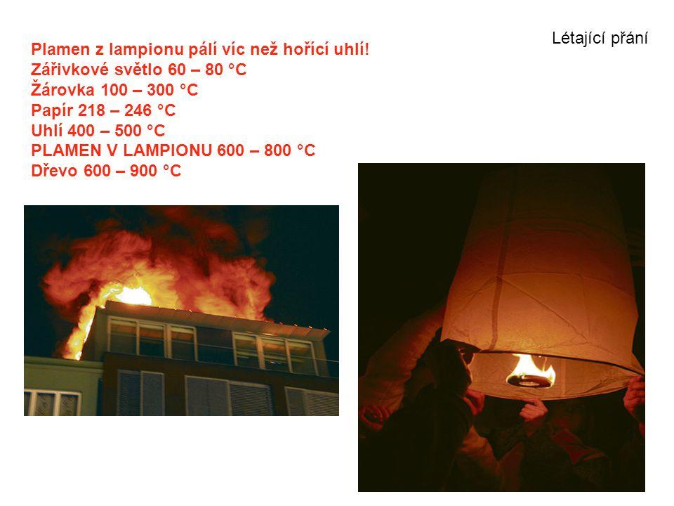 Plamen z lampionu pálí víc než hořící uhlí! Zářivkové světlo 60 – 80 °C Žárovka 100 – 300 °C Papír 218 – 246 °C Uhlí 400 – 500 °C PLAMEN V LAMPIONU 60