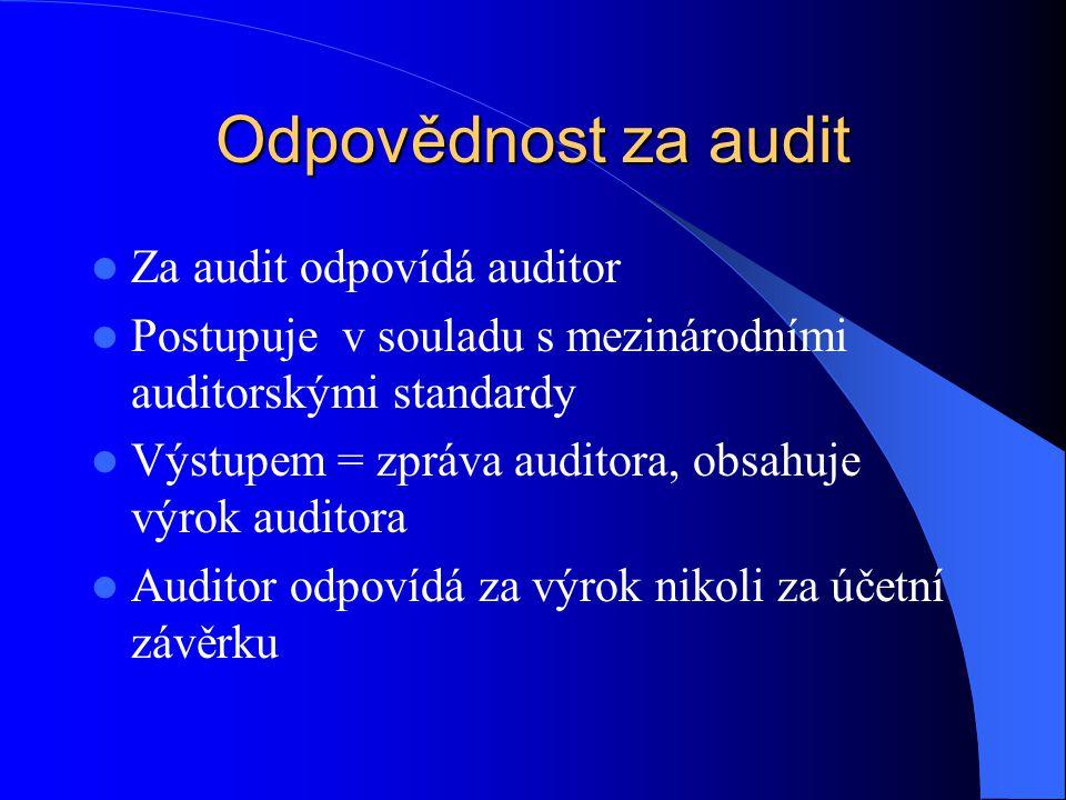 Odpovědnost za audit  Za audit odpovídá auditor  Postupuje v souladu s mezinárodními auditorskými standardy  Výstupem = zpráva auditora, obsahuje v