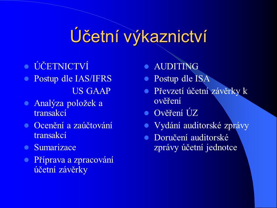 Účetní výkaznictví  ÚČETNICTVÍ  Postup dle IAS/IFRS US GAAP  Analýza položek a transakcí  Ocenění a zaúčtování transakcí  Sumarizace  Příprava a