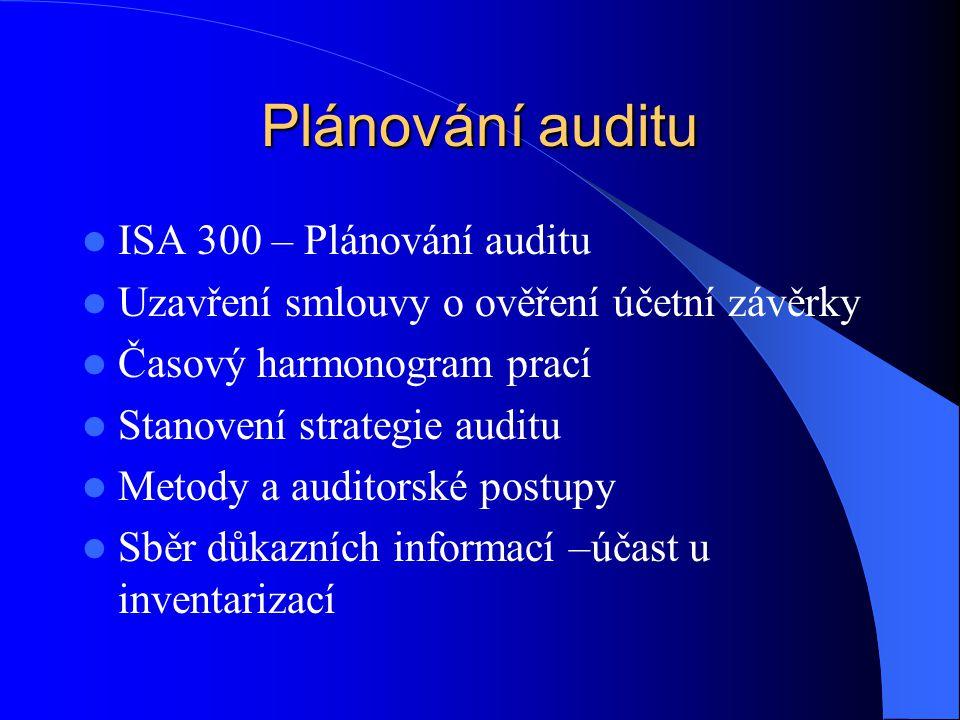 Plánování auditu  ISA 300 – Plánování auditu  Uzavření smlouvy o ověření účetní závěrky  Časový harmonogram prací  Stanovení strategie auditu  Me