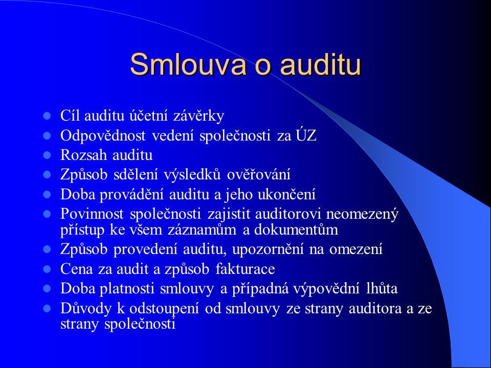 Smlouva o auditu  Cíl auditu účetní závěrky  Odpovědnost vedení společnosti za ÚZ  Rozsah auditu  Způsob sdělení výsledků ověřování  Doba provádě