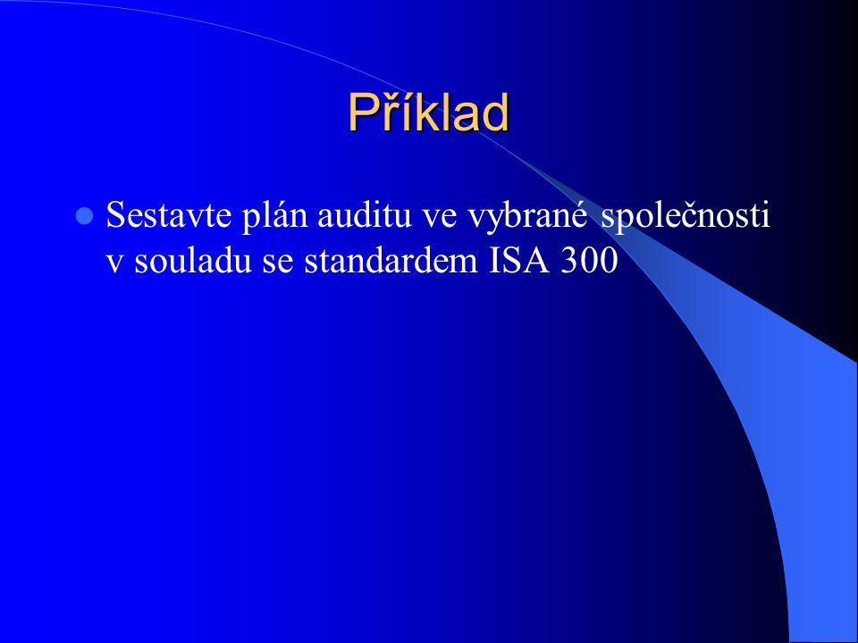 Příklad  Sestavte plán auditu ve vybrané společnosti v souladu se standardem ISA 300