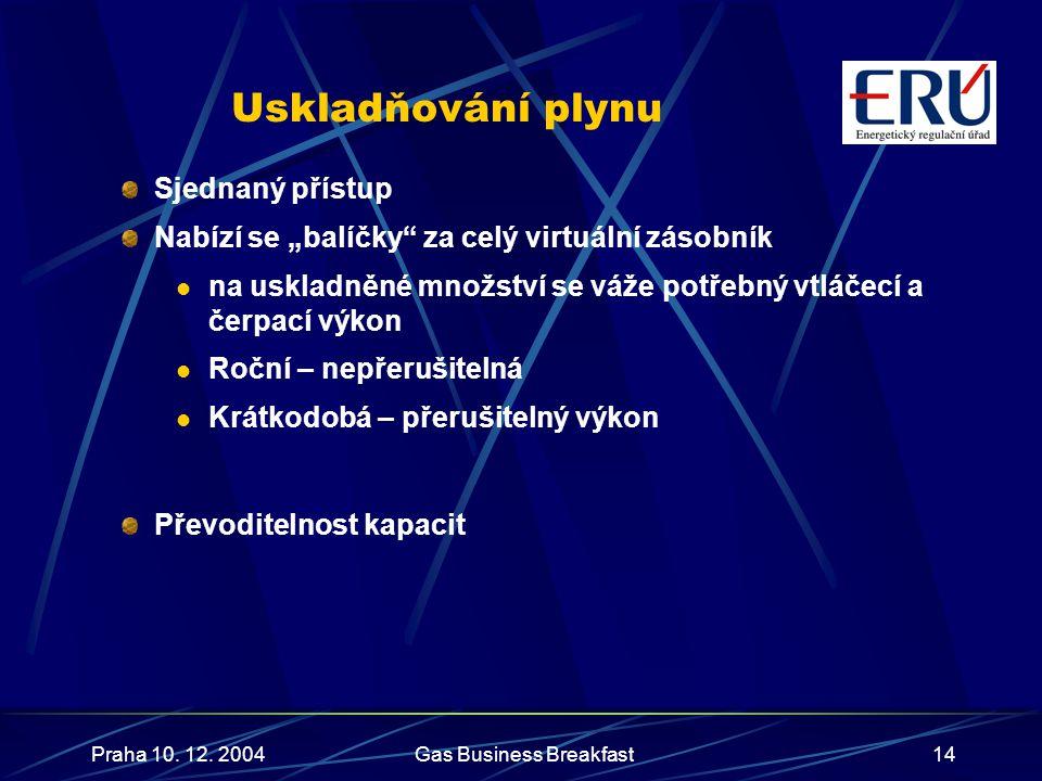 """Praha 10. 12. 2004Gas Business Breakfast14 Uskladňování plynu Sjednaný přístup Nabízí se """"balíčky"""" za celý virtuální zásobník  na uskladněné množství"""