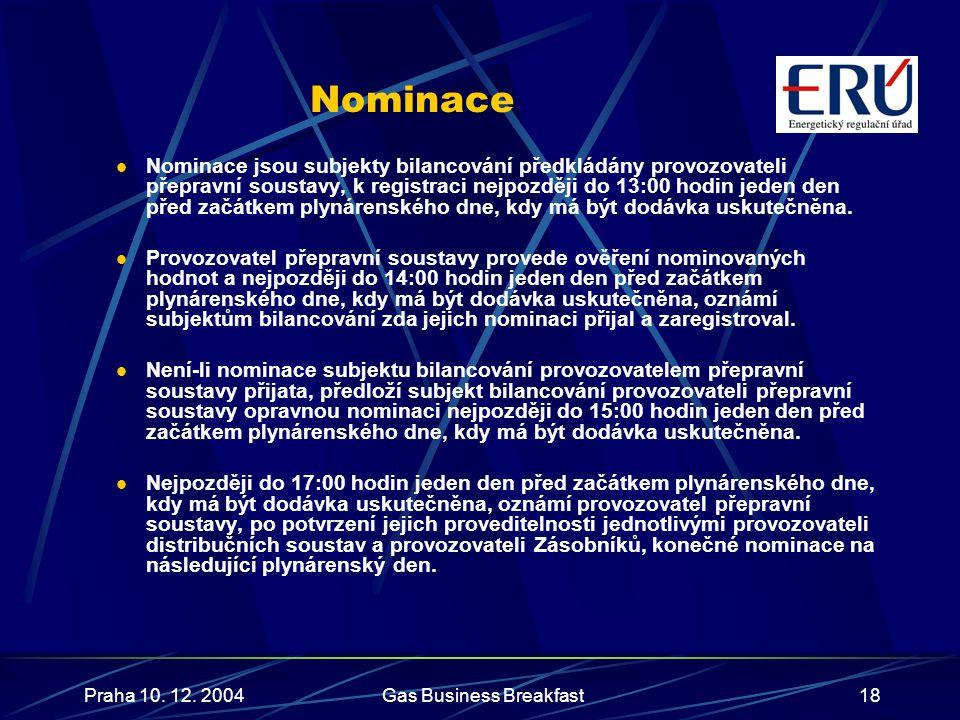 Praha 10. 12. 2004Gas Business Breakfast18 Nominace  Nominace jsou subjekty bilancování předkládány provozovateli přepravní soustavy, k registraci ne