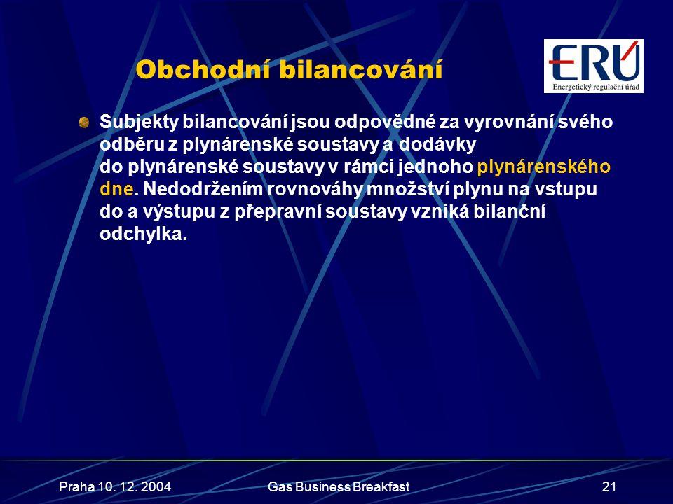 Praha 10. 12. 2004Gas Business Breakfast21 Obchodní bilancování Subjekty bilancování jsou odpovědné za vyrovnání svého odběru z plynárenské soustavy a