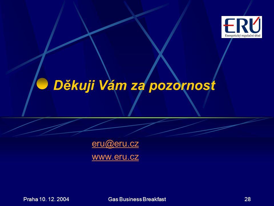 Praha 10. 12. 2004Gas Business Breakfast28 Děkuji Vám za pozornost eru@eru.cz www.eru.cz