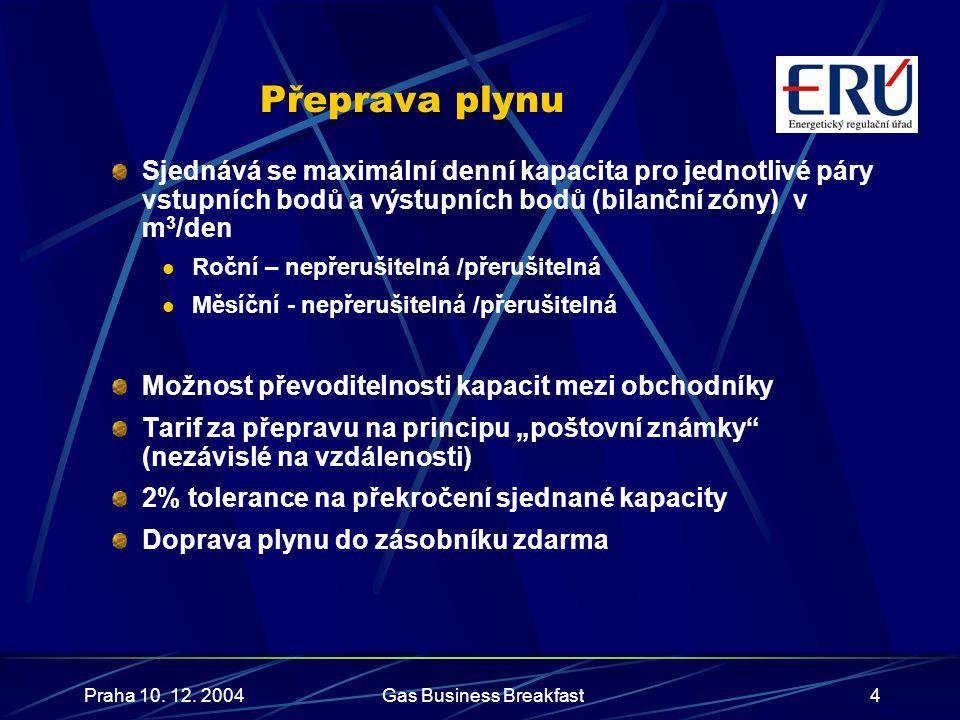 Praha 10. 12. 2004Gas Business Breakfast4 Přeprava plynu Sjednává se maximální denní kapacita pro jednotlivé páry vstupních bodů a výstupních bodů (bi