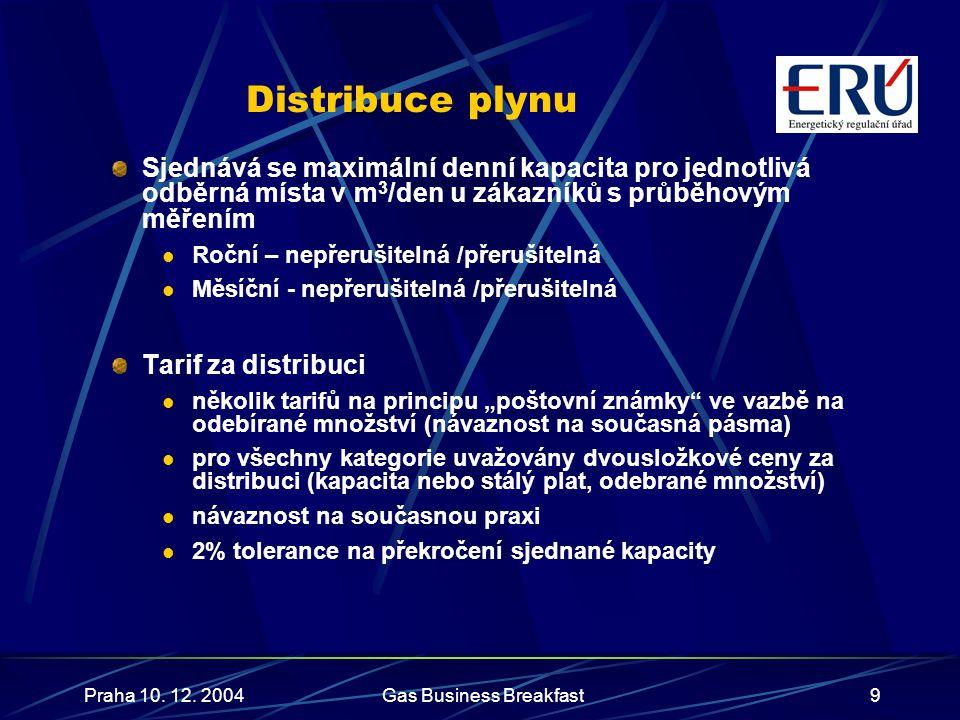 Praha 10. 12. 2004Gas Business Breakfast9 Distribuce plynu Sjednává se maximální denní kapacita pro jednotlivá odběrná místa v m 3 /den u zákazníků s