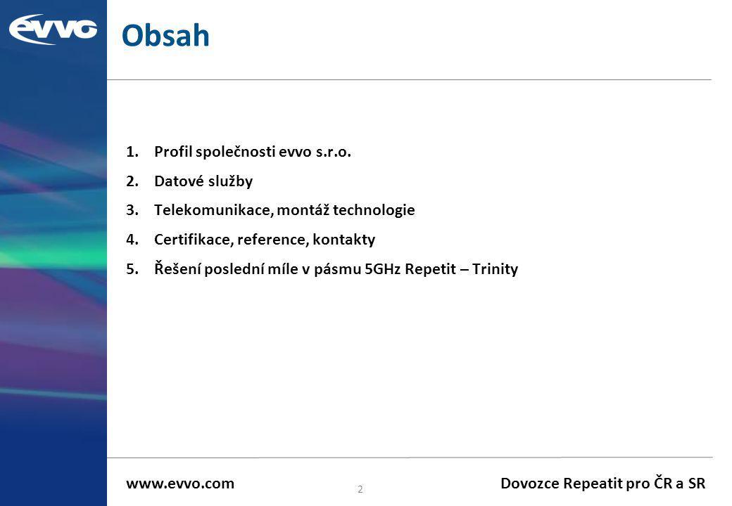 Obsah 1.Profil společnosti evvo s.r.o. 2.Datové služby 3.Telekomunikace, montáž technologie 4.Certifikace, reference, kontakty 5.Řešení poslední míle