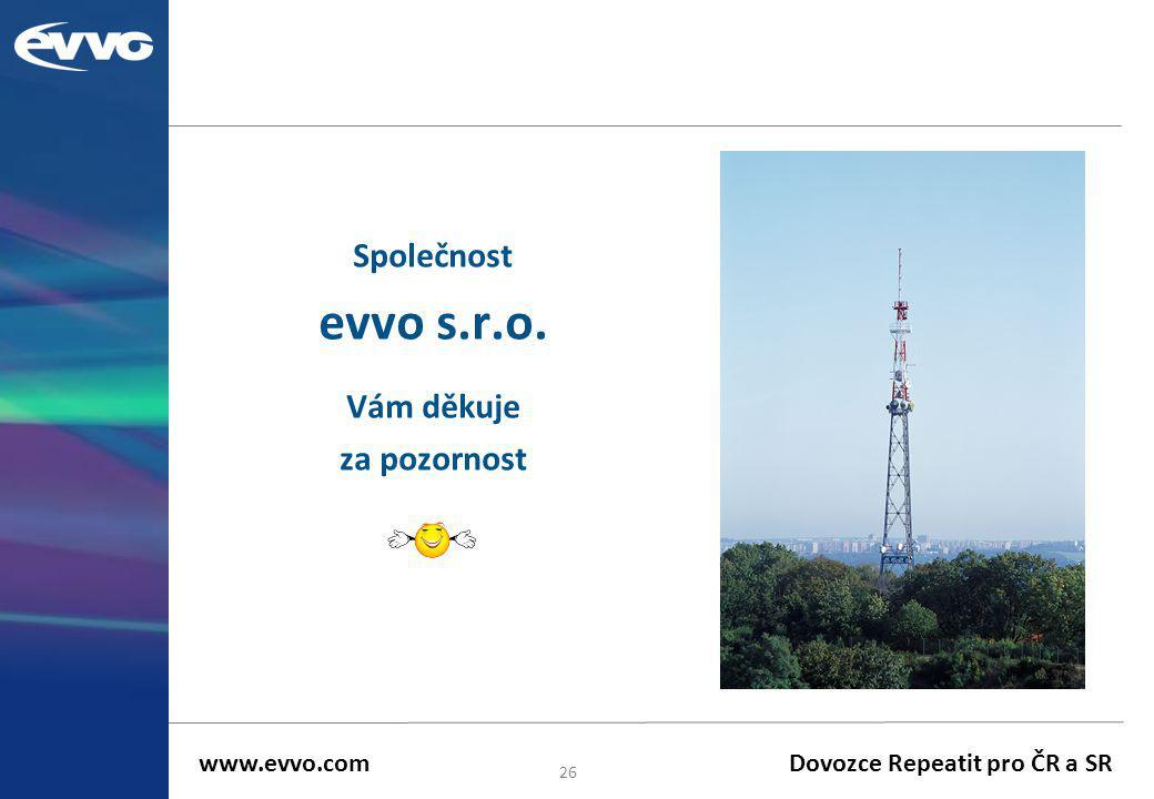 Společnost evvo s.r.o. Vám děkuje za pozornost 26 www.evvo.com Dovozce Repeatit pro ČR a SR