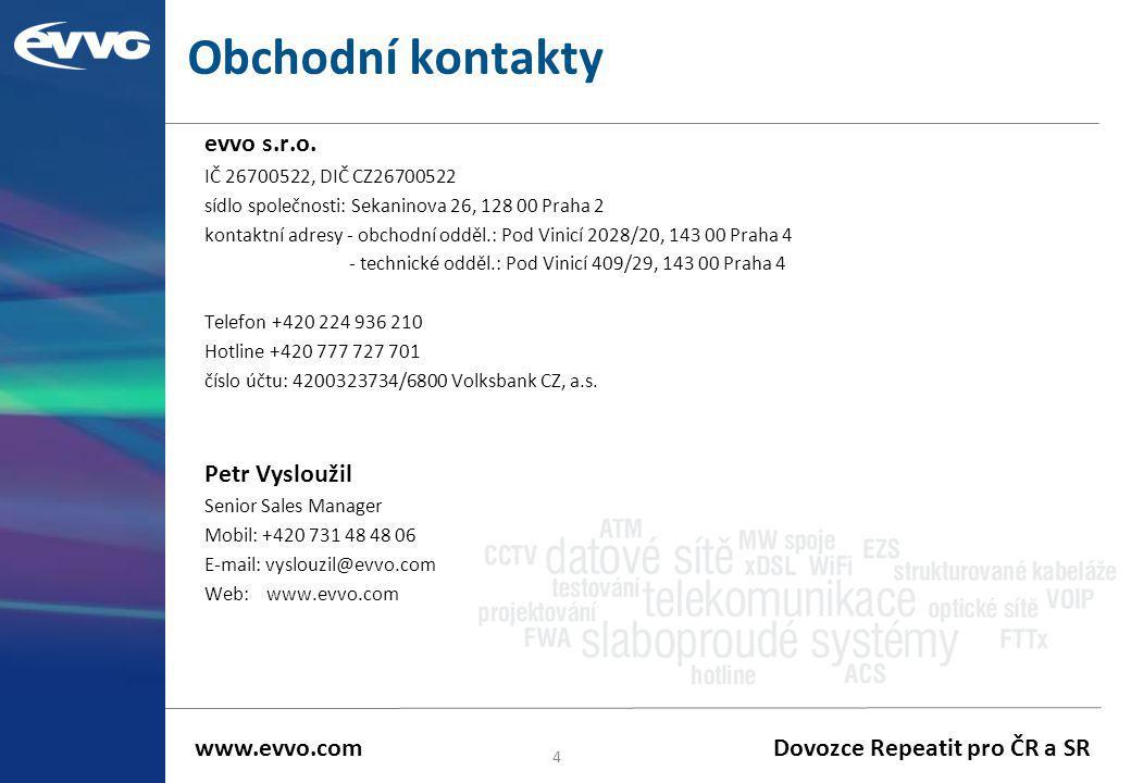 Obchodní kontakty evvo s.r.o. IČ 26700522, DIČ CZ26700522 sídlo společnosti: Sekaninova 26, 128 00 Praha 2 kontaktní adresy - obchodní odděl.: Pod Vin