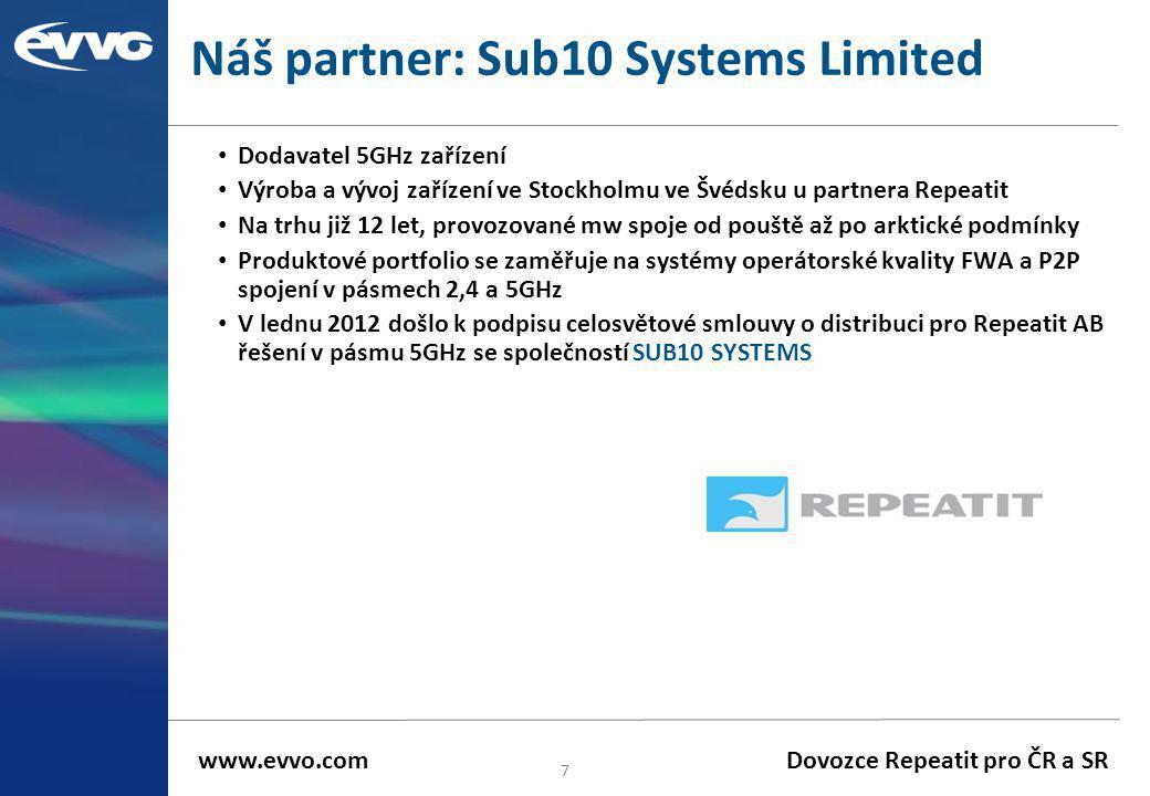 Náš partner: Sub10 Systems Limited • Dodavatel 5GHz zařízení • Výroba a vývoj zařízení ve Stockholmu ve Švédsku u partnera Repeatit • Na trhu již 12 l