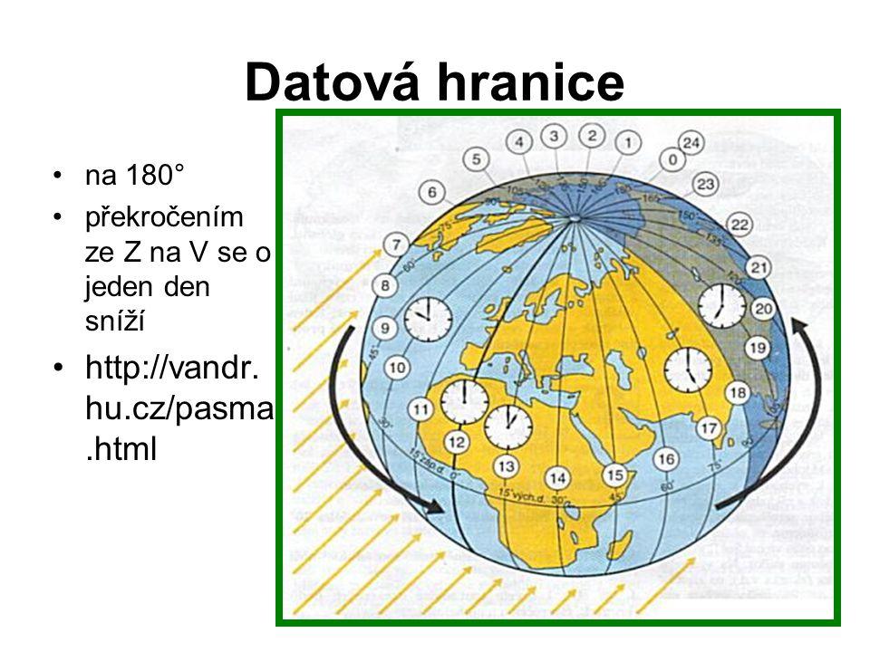 Místní čas x časová pásma •Země se otočí kolem své osy za 24 hodin.