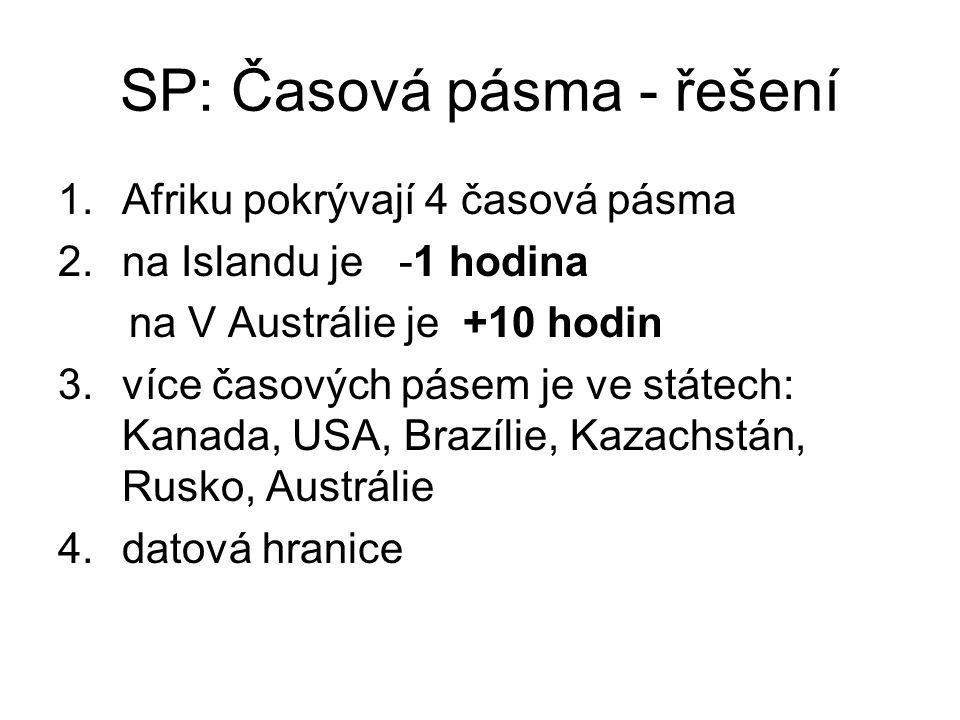SP: Časová pásma - řešení 1.Afriku pokrývají 4 časová pásma 2.na Islandu je -1 hodina na V Austrálie je +10 hodin 3.více časových pásem je ve státech: