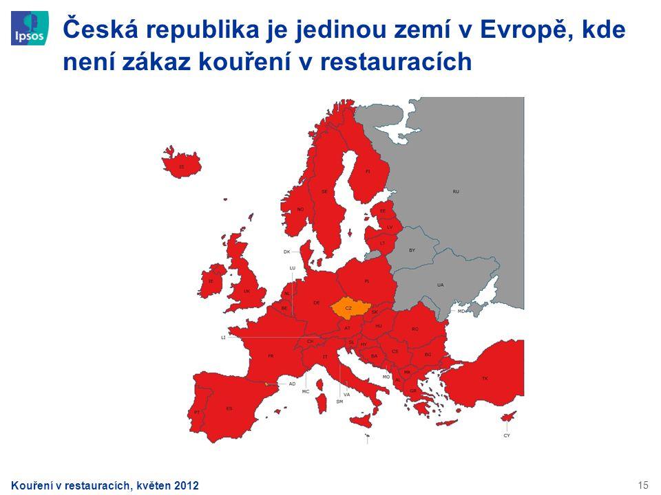 15 Česká republika je jedinou zemí v Evropě, kde není zákaz kouření v restauracích Kouření v restauracích, květen 2012